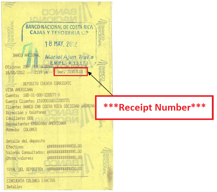 how to get mrv receipt number us