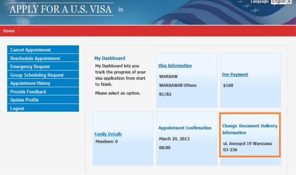Apply for a U S  Visa | Change Document Delivery Address - Japan